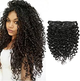 Clip in Human Hair Extensions Afro Jerry Curly 3B 3C Real Hair Clip in Extensions For Black Women Natural Black Color 100% Brazilian African Hair Curly Extensions 10-22 inch (20 inch, Jerry Curly)