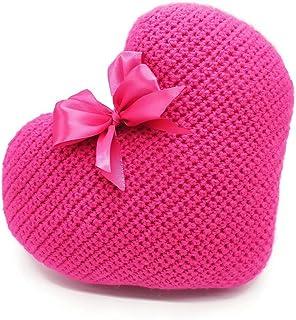 Cuscino cuore fucsia rosa decorazione casa divano letto love design handmade