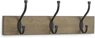 AmazonBasics - Perchero de madera de pared 3 ganchos estándar 34 cm Madera noble 2 unidades