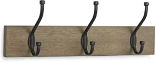 AmazonBasics Wall Mounted Standard Coat Rack, 3 Hooks, Set of 2, Barnwood