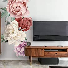 XIMIXI DIY Flores peonías juego de adhesivos de pared autoadherentes PVC extraíble floral adhesivo de pared