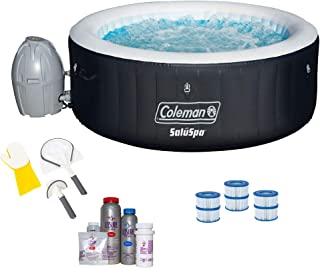 Coleman SaluSpa 4 Person Spa w/Cleaning Tools, Filter Cartridge, Bromine Kit