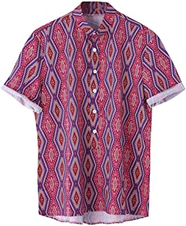 Vintage Printed Shirts for Mens Stand Ethnic Collar Colorful Stripe Button Turn Down Short Sleeve Loose Tops