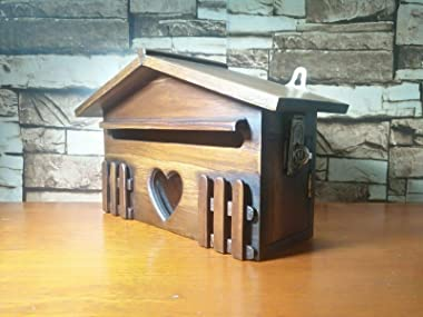 Wooden Mail Box Heart Post Box Wall Mount Lock Wood Teak Letters Posts Boxes Vintage Style