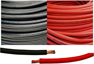 2 Gauge 2 AWG 10 Feet Black + 10 Feet Red (20 Feet Total) Welding Battery Pure Copper Flexible Cable Wire - Car, Inverter, RV, Solar by WindyNation