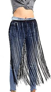 Women's Black Fringe Belt Skirt Adjusted Chain Tassel Belts Decoration for Waistline:25-28 inch