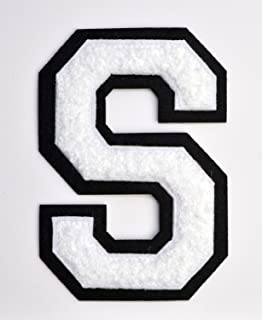 Varsity Letter Patches - White Embroidered Chenille Letterman Patch - 4 1/2 inch Iron-On Letter Initials (White, Letter S Patch)