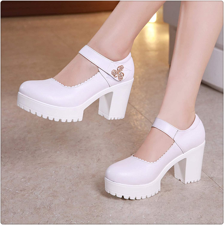HCHBE& White Black Red Silver Block Heels Platform Pumps Women Wedding shoes 2019 Rhinestone Square Heel Office shoes Woman Footwear 8cm Heel White 4