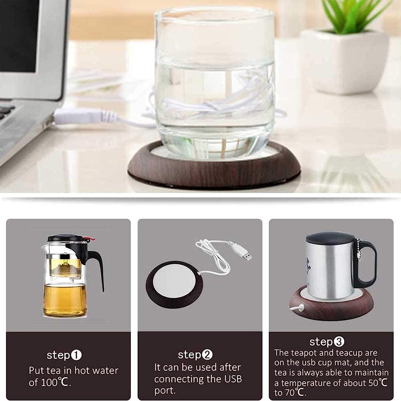 Calentador de Taza de caf/é Posavasos Calefactor para Leche caf/é t/é UniM Calentador de Caf/é Calentador de Bebidas para Oficina en casa USB Calentador de Tazas el/éctrico con Base Antideslizante