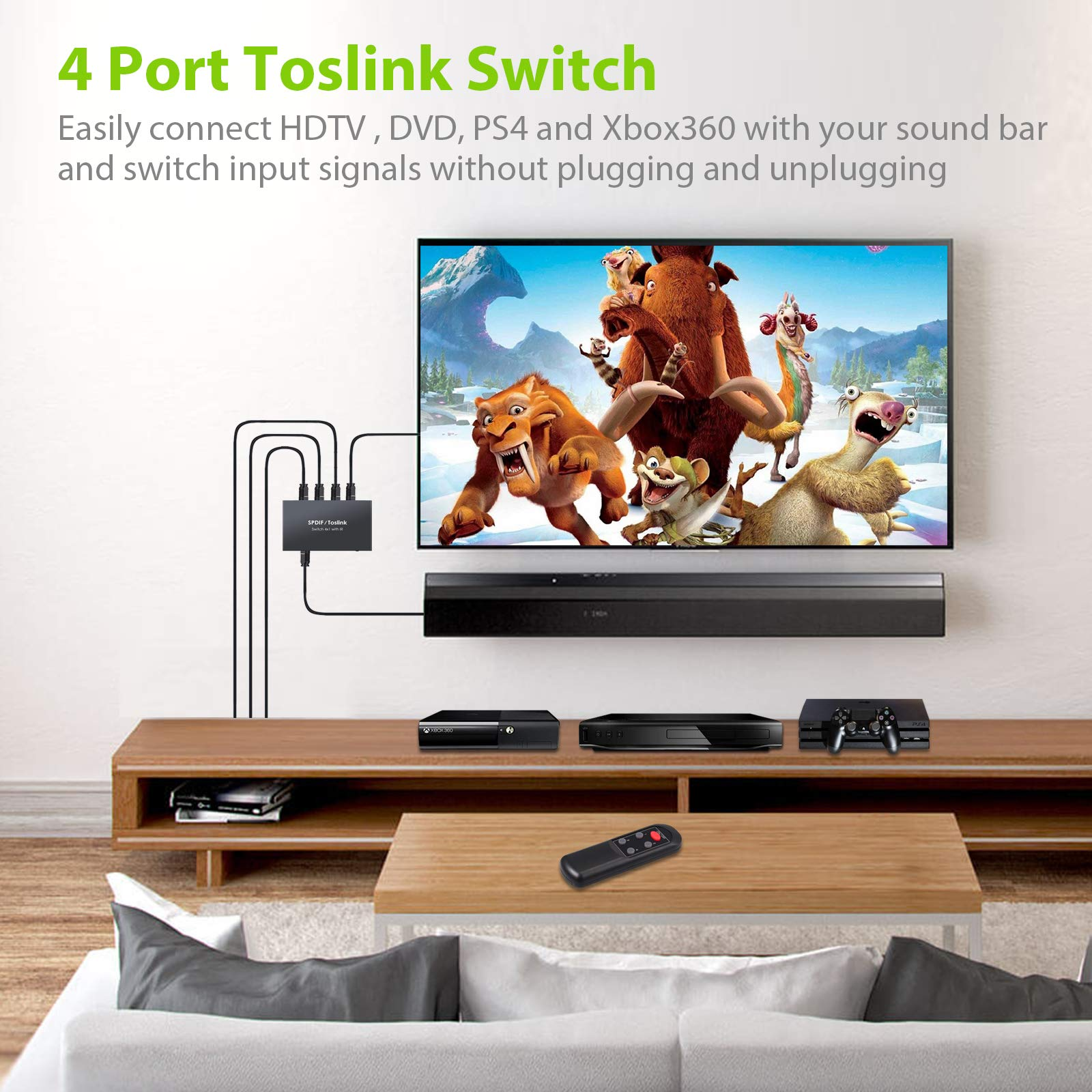 LiNKFOR Digital Toslink Optical 4x1 Switch with 3ft
