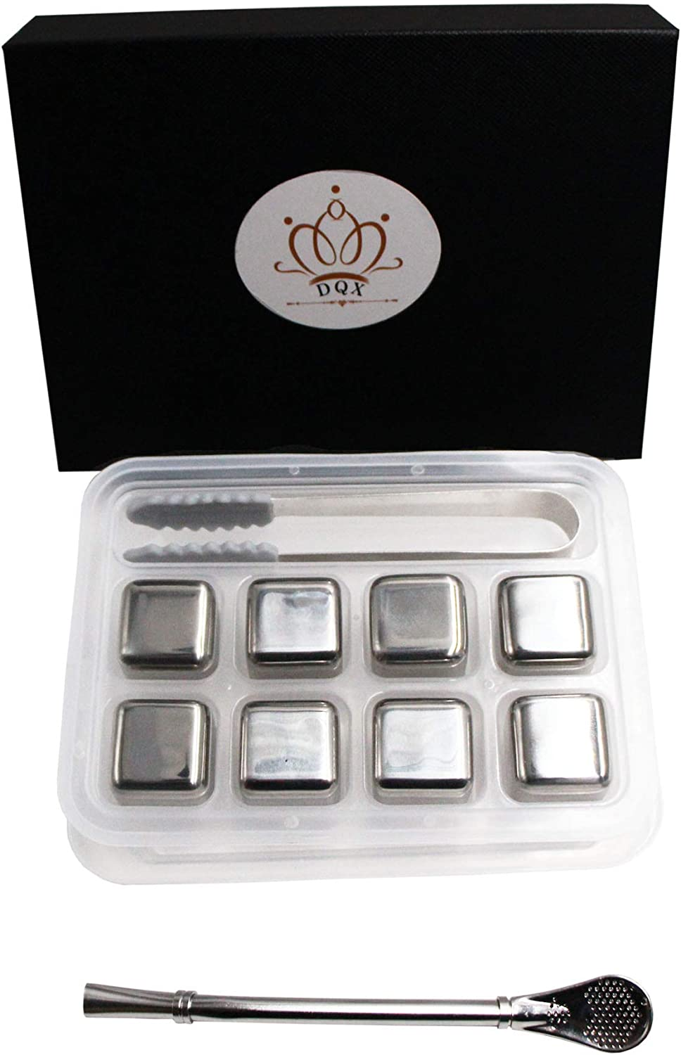 Whiskey Stones Stainless Steel Ice Cubes Gift Set-Metal Beverage Chilling Stones-Stainless Steel Ice Cube-rubber-tipped ice tong with storage tray-Whiskey Gifts for Men