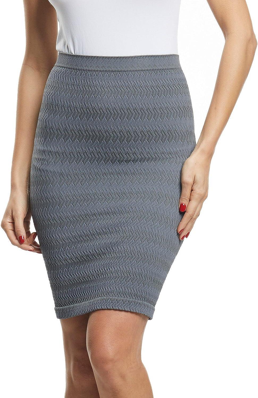 Beilini Women's Short Pencil Skirt Stretch Slim Fit Casual Office Skirt
