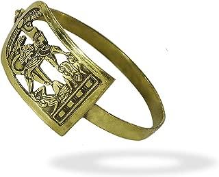 bonballoon Egyptian Egypt Pharaoh Brass Bracelet Cuff Isis Wings King TUT Beetle Luck Hieroglyphics Cartouche Pharaoh's Costume Jewelry Accessory Hieroglyphic Souvenir