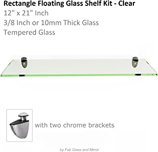 Fab Glass and Mirror S-12x21RECCHBR Rectangle Glass Shelf, 12