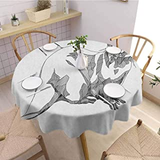EMODFJCXZ Tulle Round Tablecloth Black and White Sketch Otter Monochrome with Line Art Inspirations Animal Illustration Jacquard Tablecloth D36 Black White