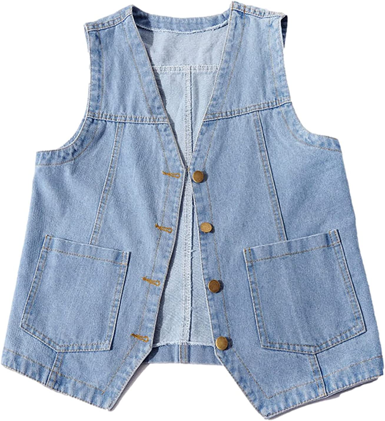 Peaceglad Womens Casual Jean Vest V Neck Challenge the lowest price Down Button Popular standard Open Front