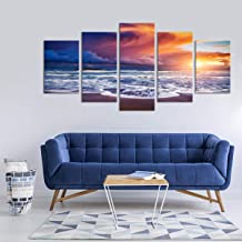 """Colorful Sunset Canvas Wall Art - Ready to Hang - Ocean Sea Artwork with Island View - Large Hanging Print for Home Office, Living Room, Bedroom, Kitchen, Bathroom - Made in USA - 1 Piece 84"""" x 40"""""""