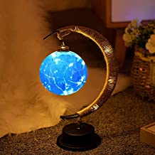 The Enchanted Lunar Lamp, Hangende LED Maan Lamp Nachtlampje met Stand, Maan Lamp Crescent Moon Ball Tafellamp Warm Licht ...
