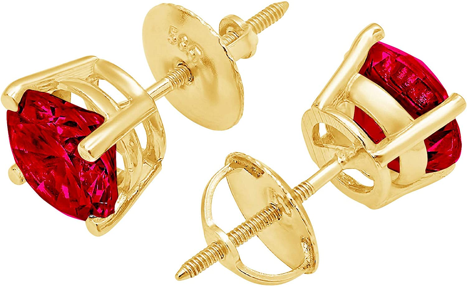 Clara Pucci 1.1 ct Brilliant Round Cut Solitaire VVS1 Flawless Simulated Ruby Gemstone Pair of Stud Earrings Solid 18K Yellow Gold Screw Back