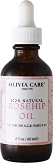 Rosehip Face Serum Oil, Large 2 oz Bottle by Olivia Care – Packed with Vitamins E, C and A to treat Wrinkles, Acne Scars, Blemishes and Dark Circle– All natural beauty moisturizer for skincare.