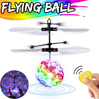 Flying Ball Toys for Kids Boys Girls Gifts, RC Flying Toys Hand Control Infrared Induction Helicopter Drone UFO Rechargeable Colorful Light Up Flying Ball with Remote Controller Outdoor Indoor Games