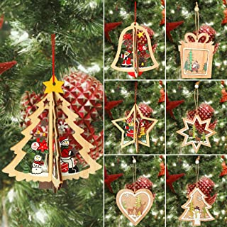 KOMIWOO 7Pcs Wooden Christmas Tree Hanging Ornaments Decorations, Unfinished Wooden Tree Hanging Tags, 3D Christmas Crafts Pendant Ornaments for Holiday Party Decor