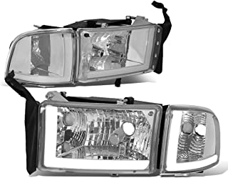 DNA Motoring HL-LB2-DR944-CH-CL1 Chrome/Clear LED DRL Headlight (Pair, For 94-02 Dodge Ram Truck)