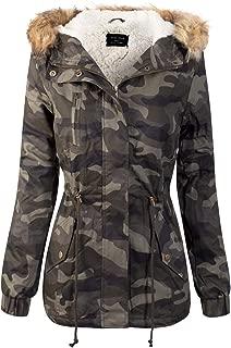 Women's Camouflage Sherpa Lined Hooded Military Safari Utility Fashion Jacket