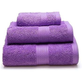 Sancarlos - Juego de 3 toallas YANAI, 100% Algodón, Color Morado ...