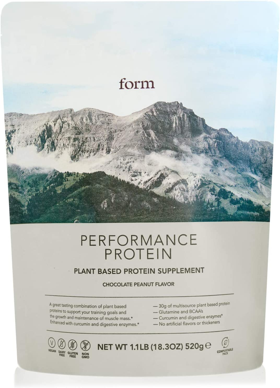 Form Performance Protein - Vegan Protein Powder - Complete Amino Acid Profile with BCAAs and Digestive Enzymes. Perfect Post Workout. Tastes Great with Just Water! (Chocolate Peanut)