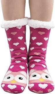 Calcetines Termicos de Novedad para Mujer Invierno Calcetines Grueso y Cálido, Calcetines Antideslizante de Piso Casa, Calcetines Divertidos con Patrón de Dibujos Animados Lindo Animal, 1 par