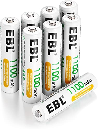 EBL 8 Pack AAA 1100mAh High Capacity Rechargeable Batteries 1.2V Ni-MH AAA Battery (Battery Case Included)