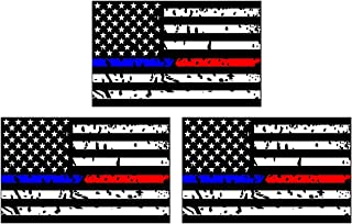 3PCS Police and Fire Dept. Blue/Red Line American Flag Sticker / Car Sticker /4