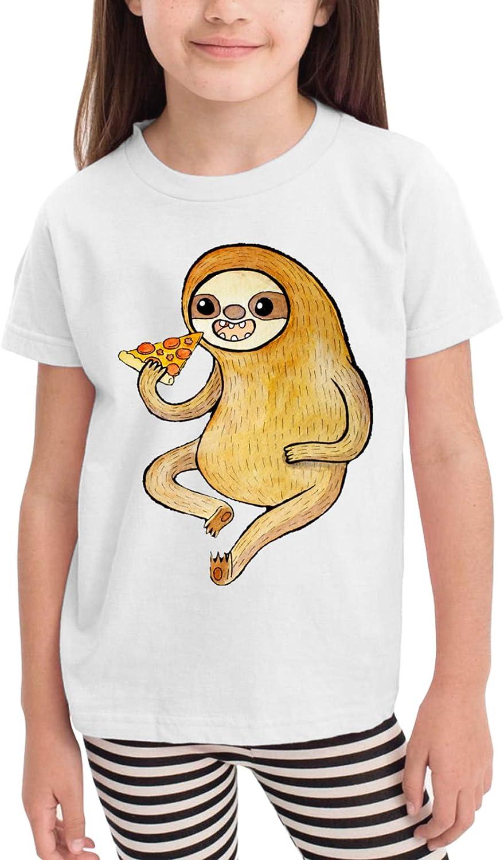 Cute Sloth Eating Pizza Children's T-Shirt,Short Sleeve Cotton Shirts Boys Girls Tee Tops for Summer