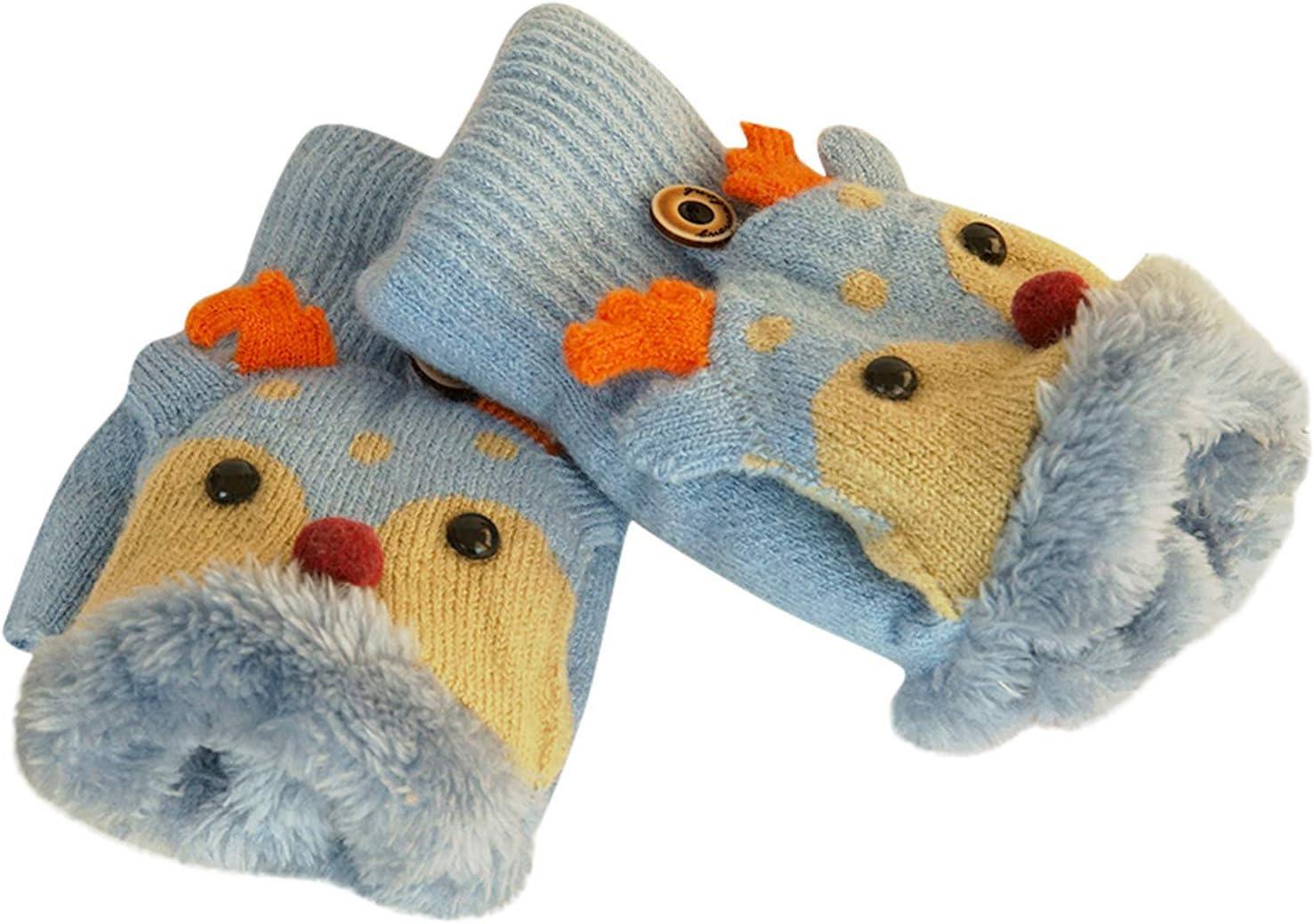 Children's Winter Gloves New Cute Winter Warm Cashmere Knitted Clamshell Gloves (Light Blue)
