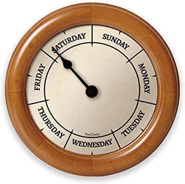 DayClocks Classic Day Clock – Day of The Week Clock - Fun Retirement Gift – Pine Wall Clock
