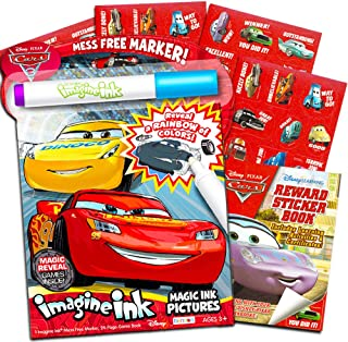 (Play Set) - Disney Cars No Mess Colouring Set for Toddlers Kids -- Mess Free Colouring Book with Magic Pen and Over 500 Disney Cars Stickers (No Mess Art)