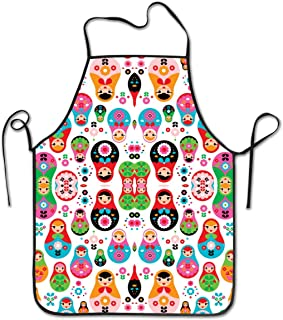 KDJGVM133 Bib Aprons for Woman Cooking Apron Matryoshka Russian Doll Kids Chief Apron Home Easy Care for Kitchen, BBQ, and Grill