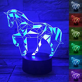 3D Horse Lamp, Optical Illusion Night Light for Room Decor & Baby Nursery, Cool Birthday Gifts for Kids, Girls, Boys & Hor...