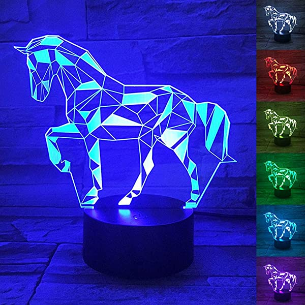 WANTASTE 3D Horse Lamp Optical Illusion Night Light For Room Decor Nursery Cool Birthday Gifts 7 Color Changing Toys For Kids Girls Boys Horse Lovers