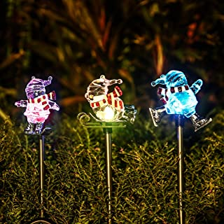 Obell Solar Garden Stake Lights - Set of 3 Christmas Lights Color Changing LED Wireless Solar Lights Outdoor Garden Decor for Fence Yard Pathway Flowerbed Driveway (Snowman Figurines)