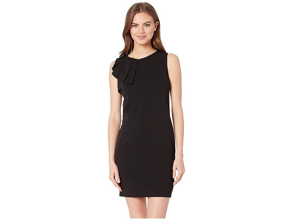 Bebe Asymmetrical Ruffle Shift Dress (Black) Women
