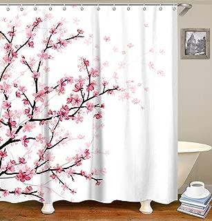 LIVILAN Pink Floral Bathroom Curtain Cherry Blossom Shower Curtains Set with 12 Hooks Fabric Bath Curtain Bathroom Decor,White 70.8
