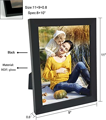 Adeco 8x10 Black Wood Decroative Picture Frame - Wall Hanging or Table Top Desktop, Made to Display 8x10 Photo