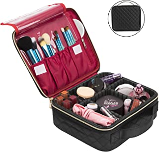 NiceEbag Travel Makeup Bag Cosmetic Bag for Women Girls Professional Train Case Nylon Cosmetic Storage Organizer with Removable Dividers for Cosmetics Make Up Tools, Large & Cute & DIY, Black Square