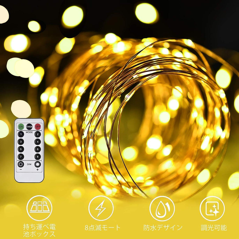 優雅考古学者ものLED イルミネーションライトurlife LEDストリングスライト 100球 10m 8種光るパターン 電池式 防水 フェアリーライト タイム設定付 調光可能 リモコン付属 屋内?屋外兼用 新年 バレンタインデー プレゼント (銅線ウォームホワイト)