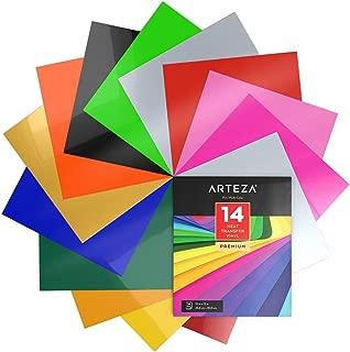 Arteza Papel de vinilo textil imprimible | Hojas de vinilo de papel transfer para camisetas y tejidos varios (25,4 x 30,5cm) | 14 colores surtidos