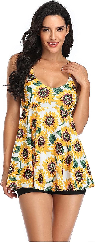 FEIZ Floral Swimsuit for Women Two Piece Swimdress Skirted Swimwear Bathing Suit Swim Suit Dress