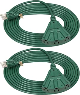 DEWENWILS 15 FT Green Outdoor Tri-Tap Extension Cord Splitter, Weatherproof 16/3 SJTW Power Cable for Christmas Decoration...