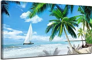 Arjun Canvas Wall Art Tropical Palm Tree Beach Picture Blue Ocean Painting Modern Hawaii Landscape Artwork Prints, 48